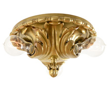 Cast Brass Acanthus Leaf Flush Mount by Caldwell c1905