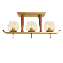 Modern 3-Light Teak and Brass-Toned Fixture c1965