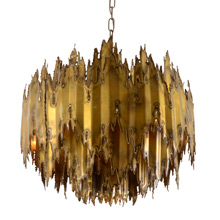 Incredible Torch-Cut Brutalist Chandelier by T.A. Greene for Feldman c1970
