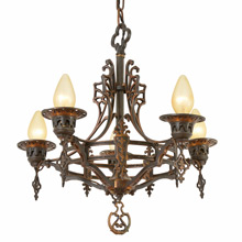 5-Candle Heraldic Chandelier w/ Copper Highlights c1930