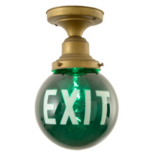 "Flush Ring W/Green""EXIT"" Shade C1920"