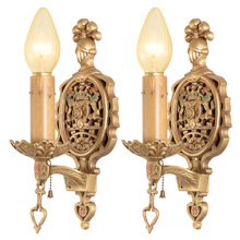 Pair of Wall Sconces W/ British Coat of Arms Motif C1925