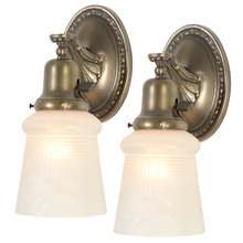 Pair of Colonial Revival Wall Sconces w/ Satin Shades, C1920