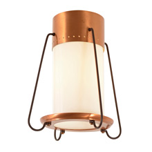 Mid-Century Flush Mount Porch Light W/ Copper Details C1955