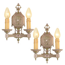 Pair of Silvery Classical Revival Double Candle Sconces, C1925