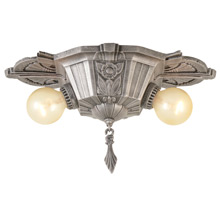 Art Deco 2-Light Flush Mount Fixture C1930's