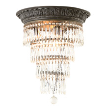 Elegant Flush-Mount Tiered Crystal Chandelier, C1925
