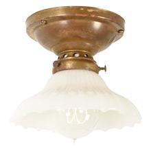 Antique Brass Flush Fixture w/Opalux Shade, c1909