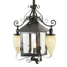 Impressive Entryway Lantern Pendant W/ Twist Opalescent Shades C1900