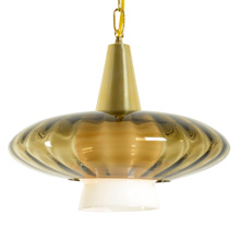 Mid-Century Brass and Smoke Glass Swag Light c1965