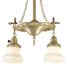 Transitional Gas/Electric Two-Light Pendant W/ Original Silver Plating C1910