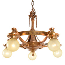 Transitional Polychrome Deco-Style 5-Light Chandelier C1929