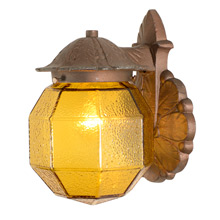 Darling Bronze-Toned Porch Light W/ Amber Glass Shade C1935