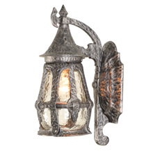 Medieval Revival Porch Sconce W/ Wavy Glass c1925