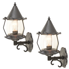 Pair of HAMMERED ROMANCE REVIVAL LANTERN C1955