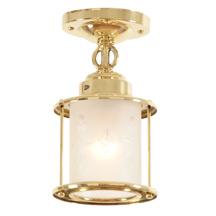 Colonial Revival Entry Lantern W/Cut-Glass Shade c1940