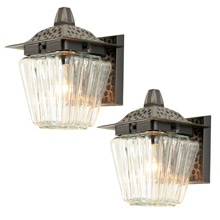 Pair of Unusual Faux-Hammered Porch Sconce C1960s