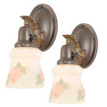 Pair of Colonial Revival Wall Sconces w/ Rosey Shades, C1920