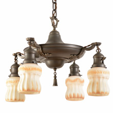 Colonial Revival Pan Light W/Lovely Tinted Shades C1925