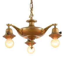 Three-Light Gilt Colonial Pan Fixture C1925