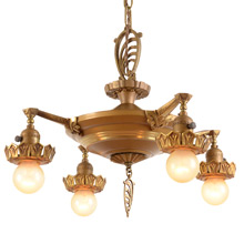 Original Duo--Toned Eclectic Pan Chandelier C1930