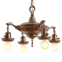 Four-Light Antique Copper-Toned Colonial Pan Fixture, C1925