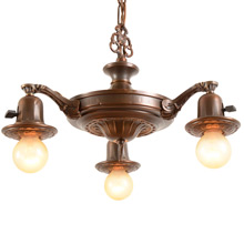 3-Light Colonial Pan Fixture w/Exposed Bulbs C1925