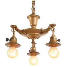 Petite Three-Light Gilt Colonial Pan Fixture, C1925