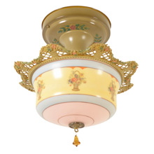 Classic Semi-Flush Mount w/ Delicately Cast Shade Ring c1928