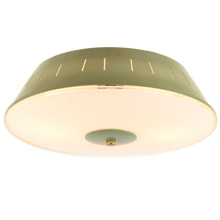 Mid-Century Avocado Green Flush Mount Fixture c1955