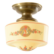 Classic Semi-Flush Mount W/Delicately Decorated Shade c1928