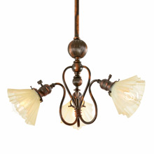 Japanned Copper W.C. Vosburgh 3-Light Chandelier c1891