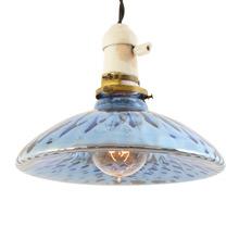 Porcelain and Brass Pendant w/ Blue Mercury Glass Shade c1925