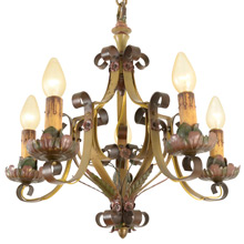 Exceptional Revival-Style Strap  Candle Chandelier, C1925