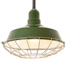 Green Enamel  RLM Pendant W/ Wire Cage C1950