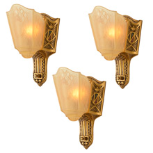 Set of 3 Heraldic Slipper Sconces by Moe Bridges c1928