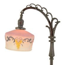 Ornate Bridge Floor Lamp w/ Reverse Painted Shade c1928