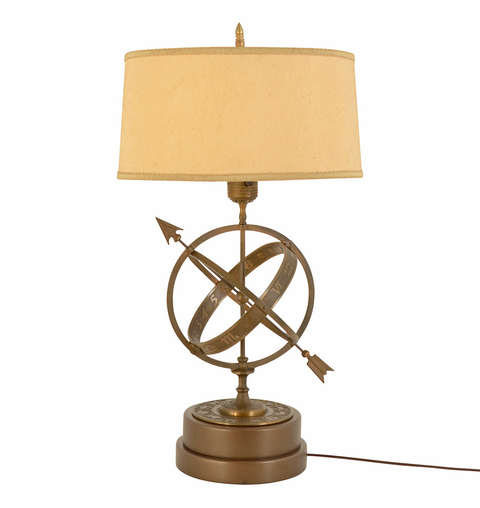 Mid Century Rembrandt Lamp: Mid-Century Bronze Astrological Armillary Lamp