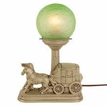 "Matte Silver Stagecoach Radio Lamp w/ Green ""Brain"" Shade c1930"