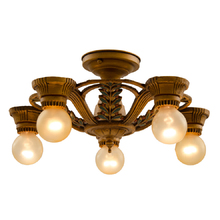 Gilt Polychrome 5-Light Semi-Flush Fixture c1926