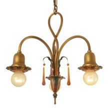 3-Light Colonial Revival Twist Chandelier c1928