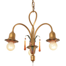 3-Light Colonial Revival Twist Chandelier W/ Pull-chain c1928