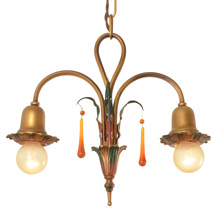 2-Light Colonial Revival Twist Pendant c1928
