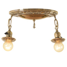 Stamped Oval 2-Light Flush Pan Fixture c1925