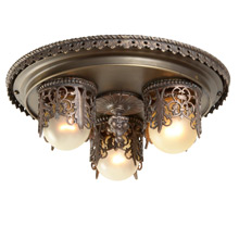 Ornate Empire Style 3-Light Pan Fixture c1920