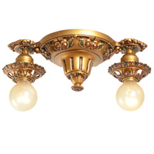 Delicately Cast 2-Light Polychrome Fixture c1920s