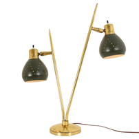 Hunter Green and Brass Mid-Century Table Lamp c1960s