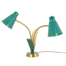 Mid-Century Tulip Table Lamp W/ Fiberglass Shades C1965
