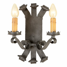 Romance Revival Faux Wrought Double Candle Sconce