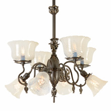 Rococo Gas/Electric Chandelier W/Opalescent Shades c1900